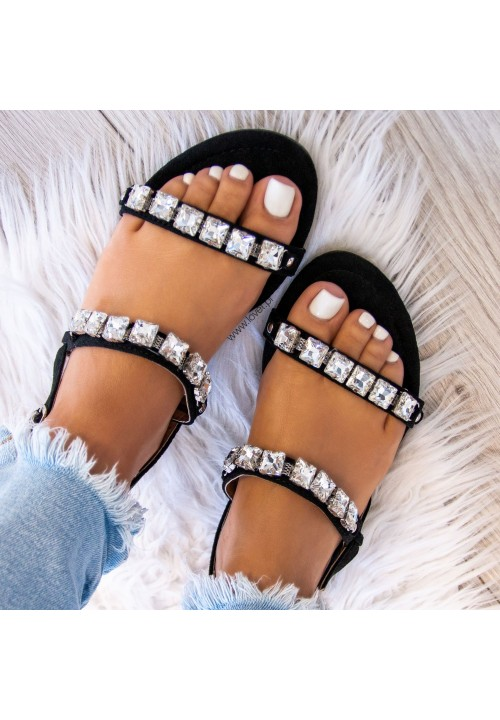 Sandałki Czarne Z Kryształkami Nan