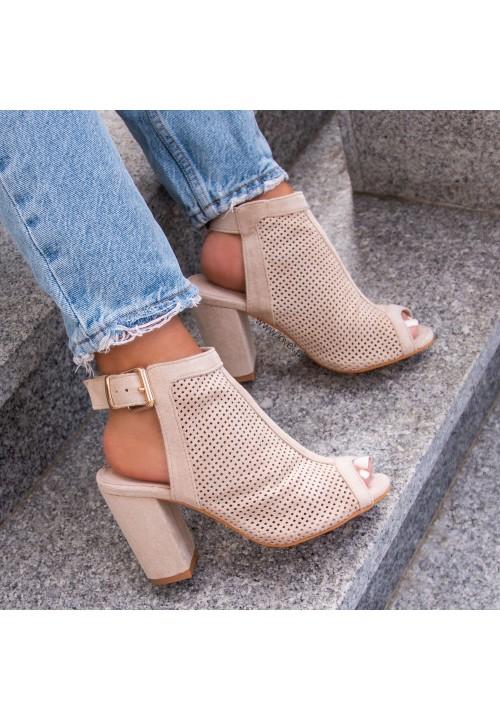 Sandały Na Słupku Ażurowe Beżowe Molly