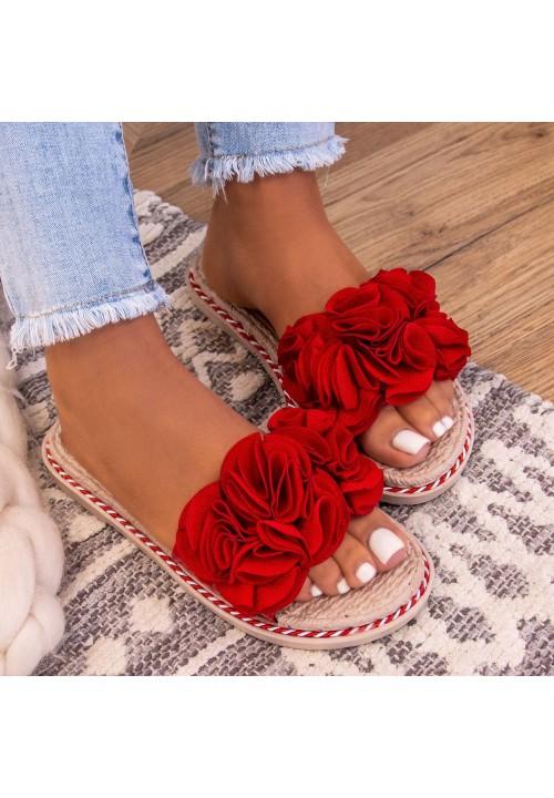 Klapki Czerwone Z Kwiatkiem Evve