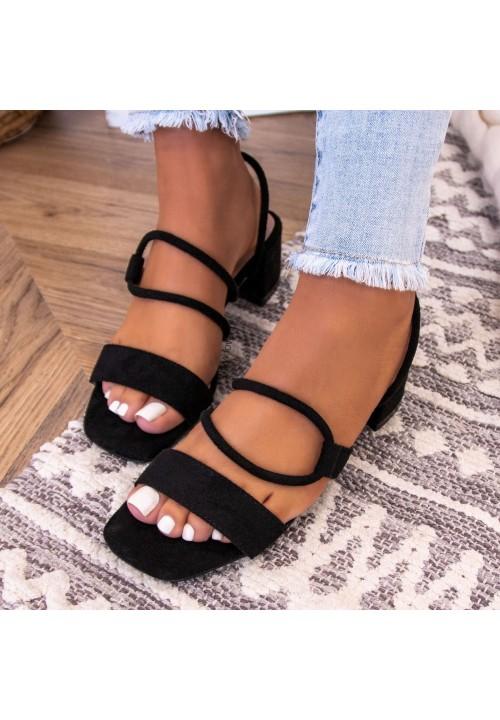 Sandałki Na Słupku Zamszowe Czarne Alia