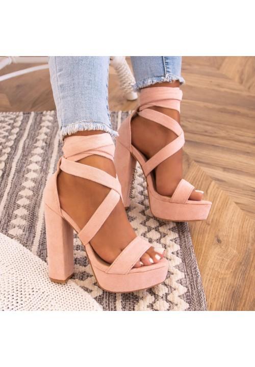 Sandałki Platformy Różowe Justine