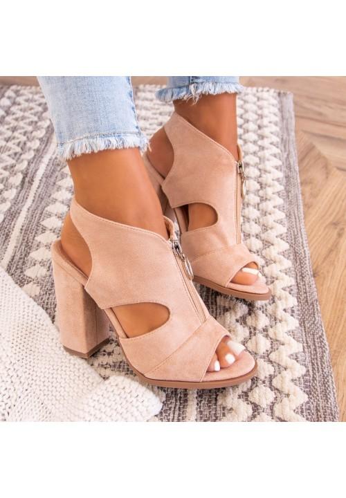 Sandałki Na Słupku Z Suwakiem Beżowe Rouse