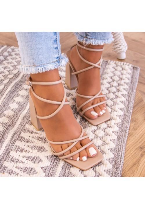 Sandałki Na Słupku Beżowe Sallis