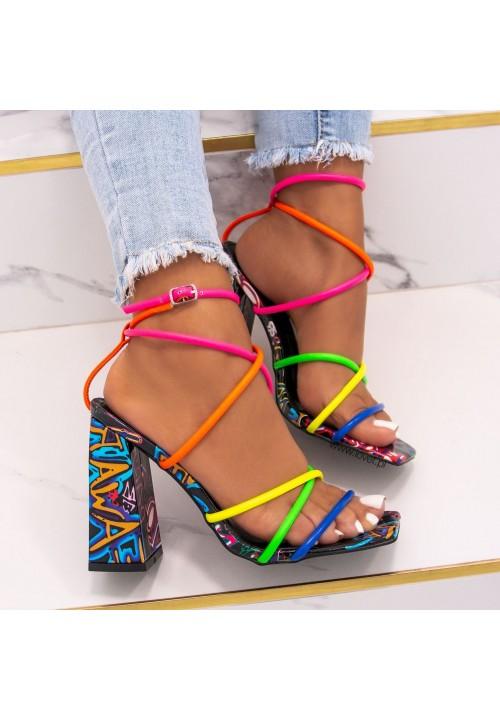Sandałki Na Słupku Multikolor Sallis