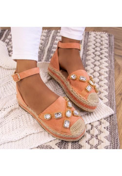 Sandałki Różowe Espadryle Zapinane Na Kostce Marr
