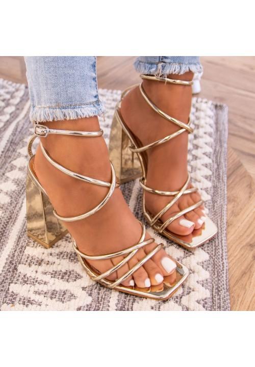 Sandałki Złote Na Słupku Sallis