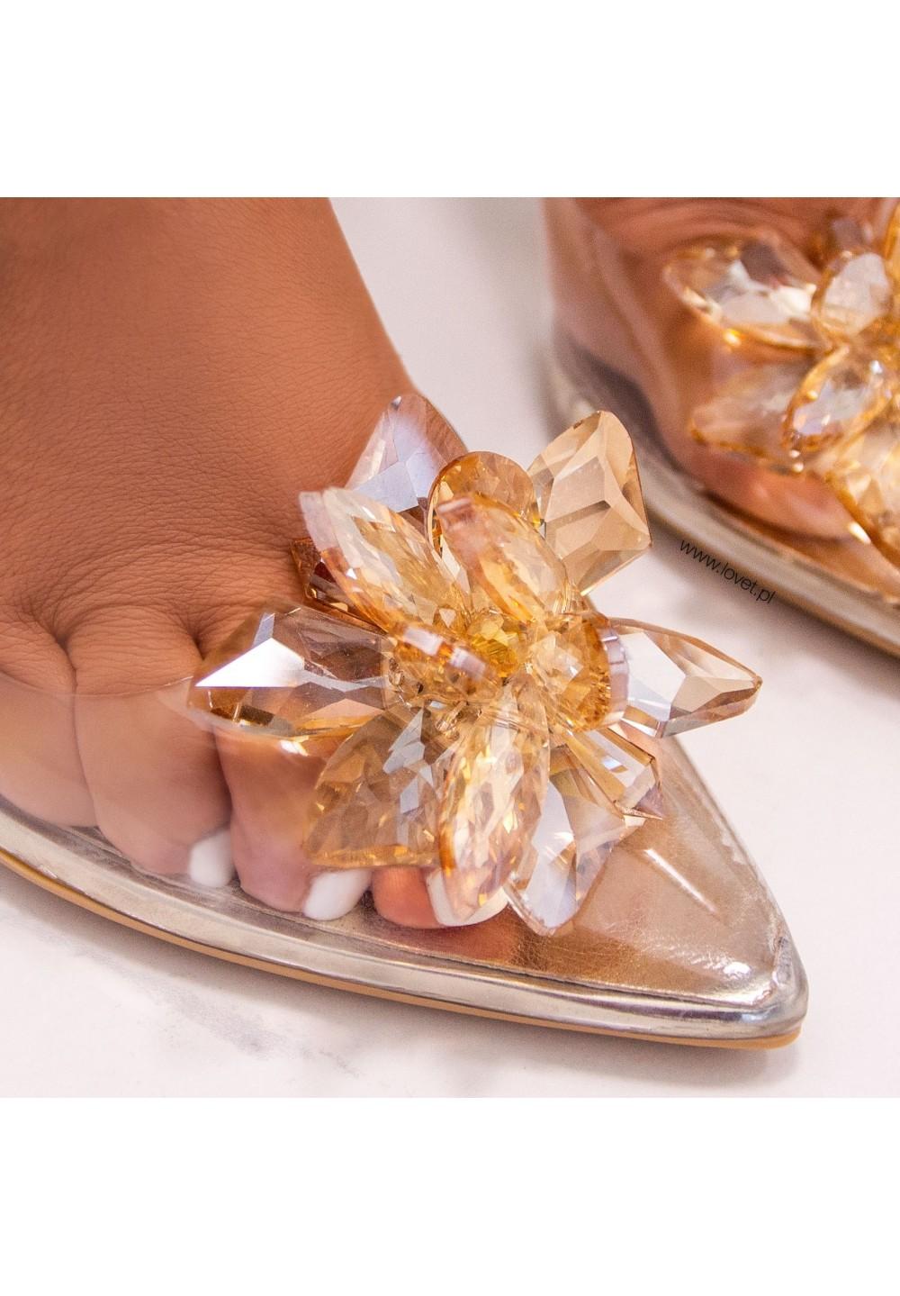 Szpilki Złote Transparentne Z Kwiatkiem Danielle