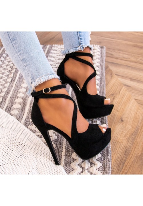 Sandałki Platformy Na Szpilce Czarne Nicole