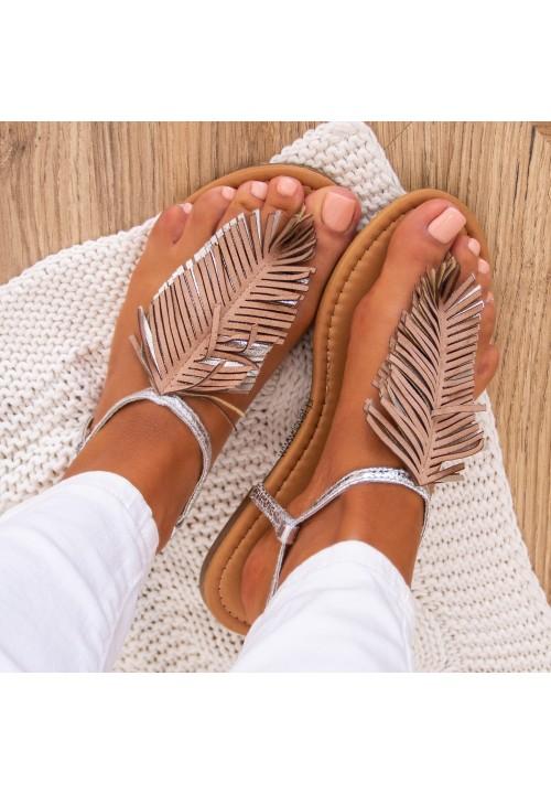 Sandałki Japonki Srebrne Z Frędzlami Lussy