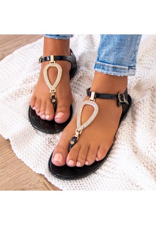 Sandałki Japonki Gumowe Czarne Tessie
