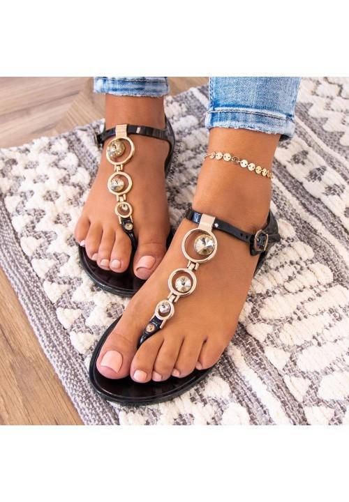 Sandałki Japonki Czarne Lauris