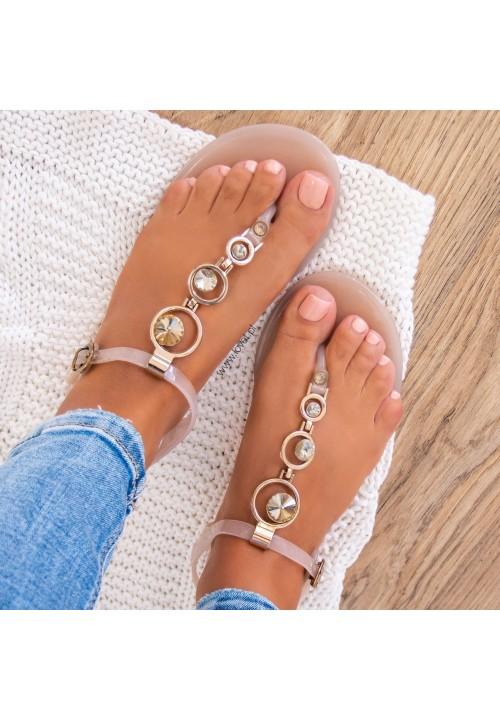 Sandałki Japonki Beżowe  Lauris