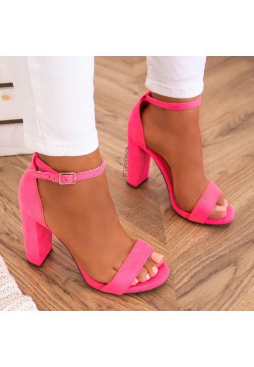 Sandały Zamszowe na Słupku Neonowe Różowe Ariel
