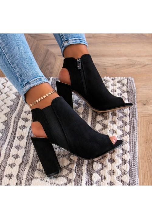 Sandały Na Słupku Czarne Saly