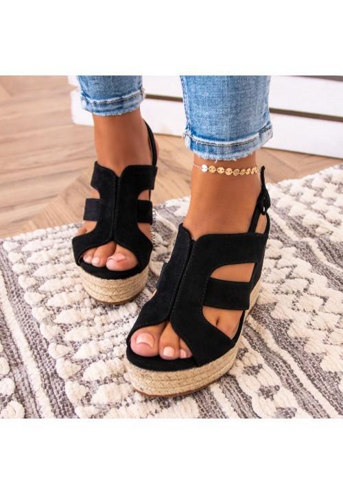 Sandały Czarne Espadryle Leah
