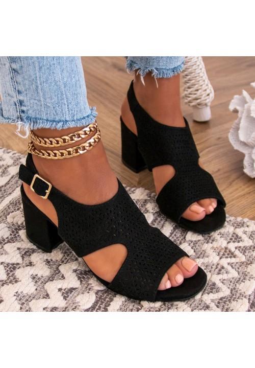 Sandały Na Słupku Ażurowe Czarne Bony