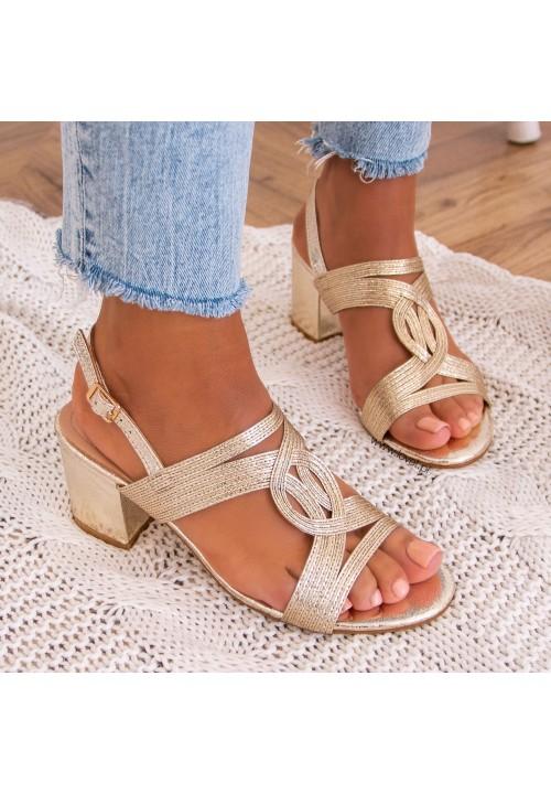 Sandałki Na Słupku Złote Fallon