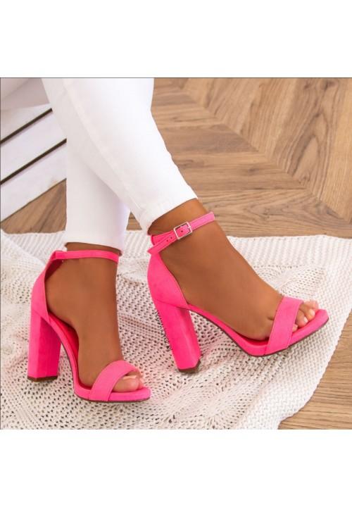 Sandały Na Słupku Zamszowe Neonowe Różowe Ariel