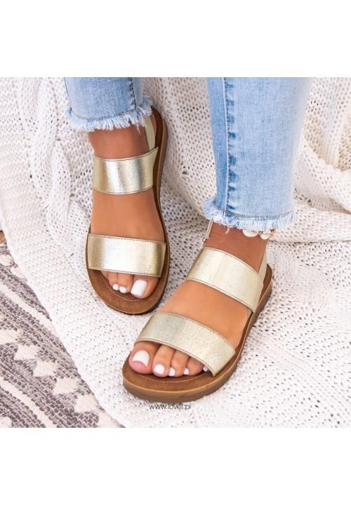 Sandały Złote Z Paskiem Megan