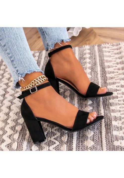 Sandałki na Słupku Czarne Kornell