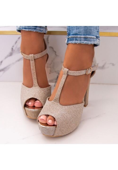Sandały Na Słupku Platformy Złote Marienn