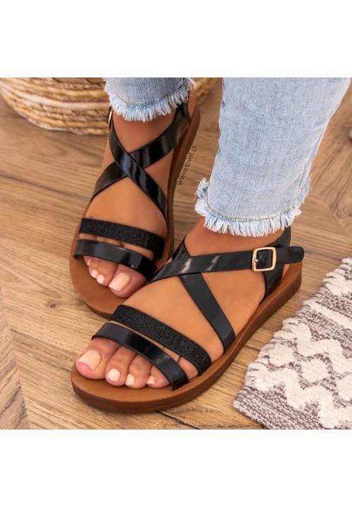Sandałki Płaskie Z Paskiem Czarne Amia