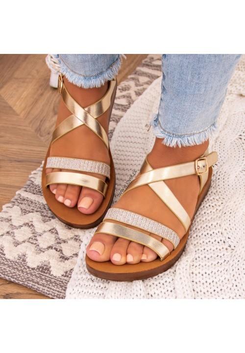 Sandałki Płaskie Z Paskiem Złote Amia