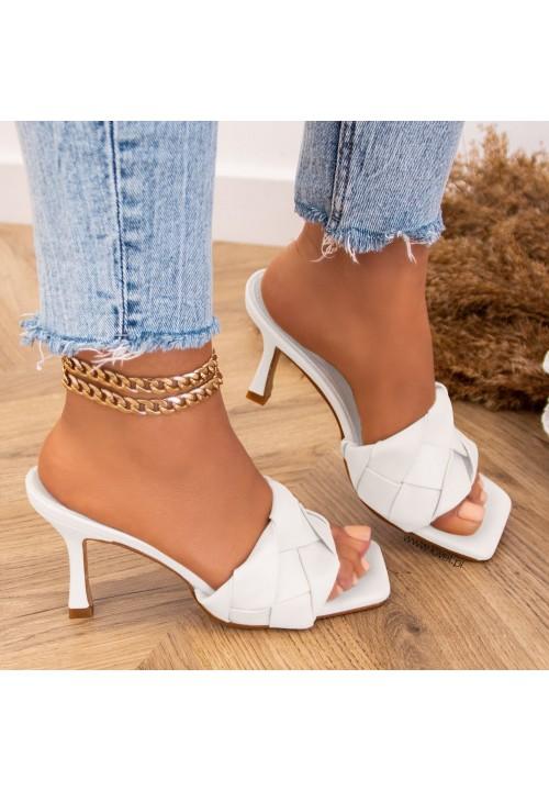 Klapki Plecione Białe Kenza Heels