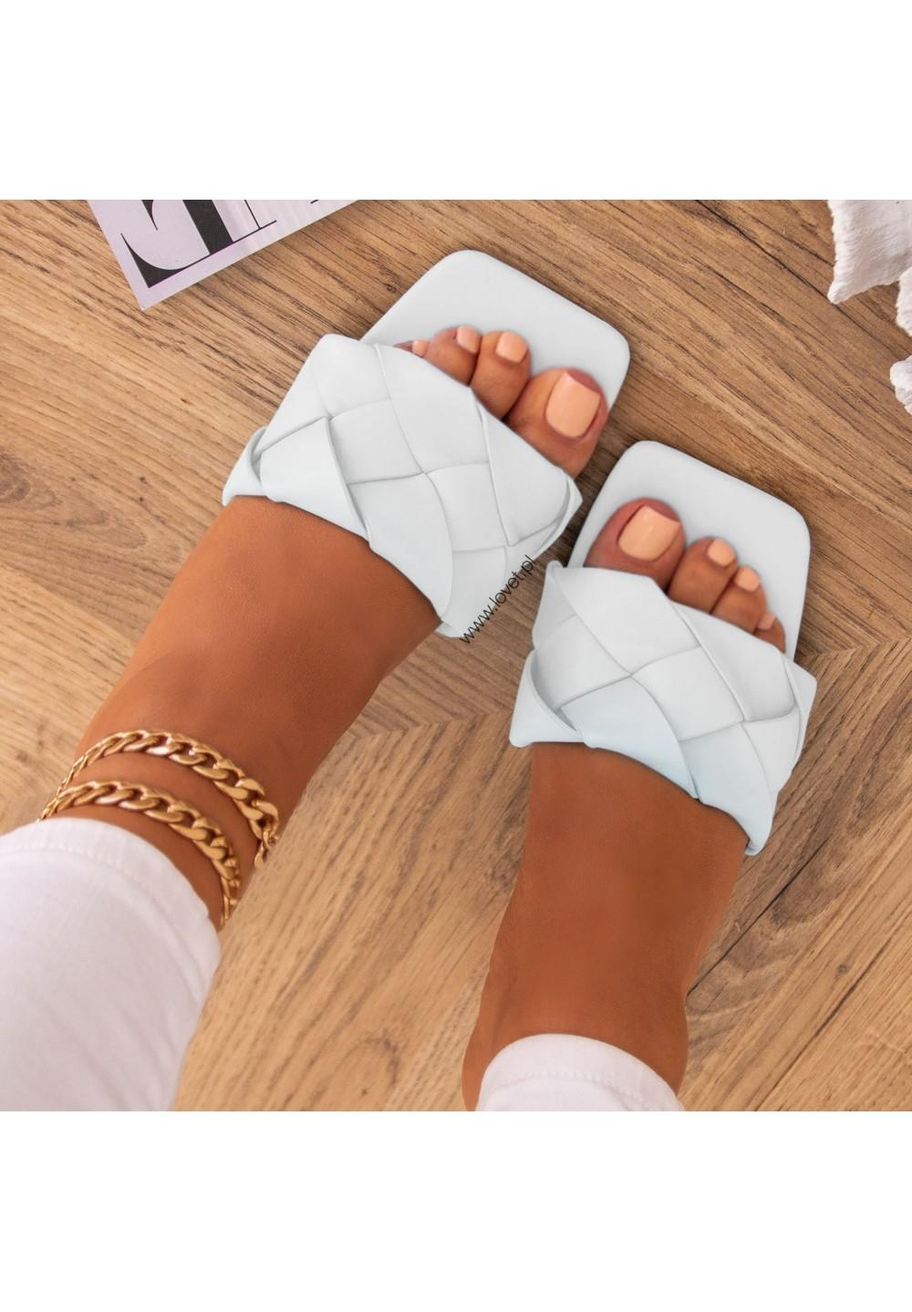 Klapki Białe Plecione Kenza Heels