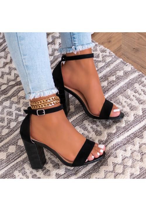 Sandały na Słupku Czarne Suel