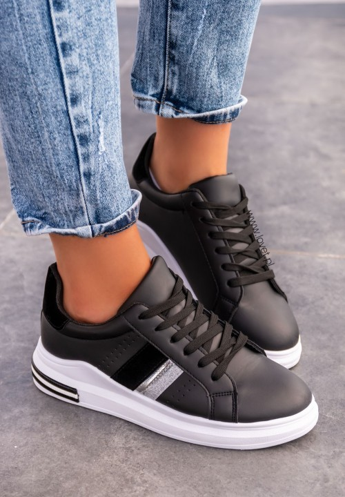 Trampki Sneakersy Wiązane Czarne Seline