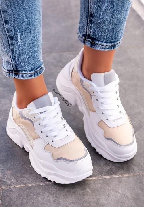 Trampki Sneakersy Beżowe Basti