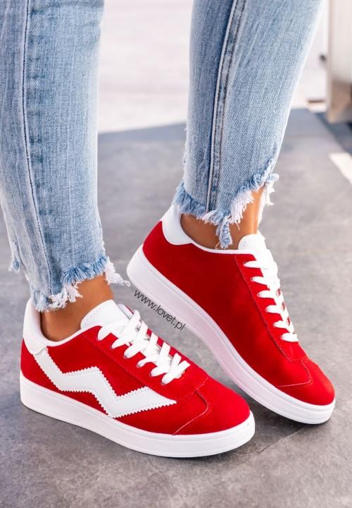 Trampki Sneakersy Zamszowe Czerwone Ilian