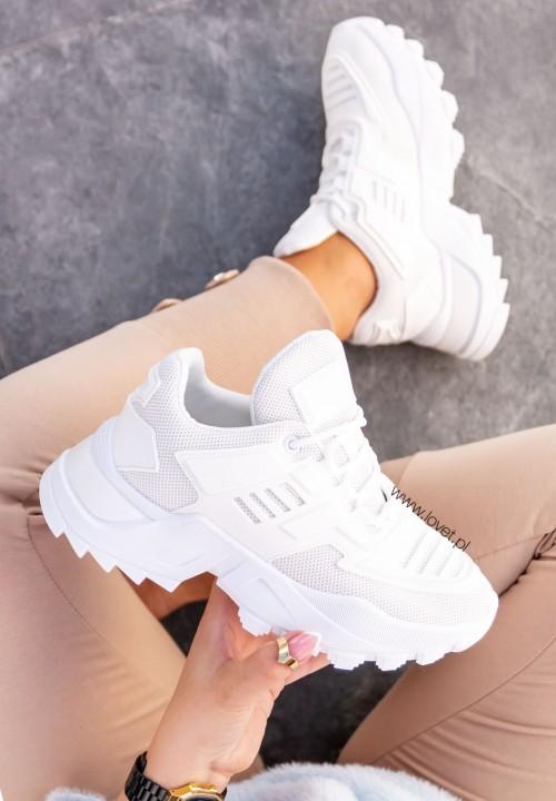 Trampki Sneakersy Siateczkowe Białe Hafia