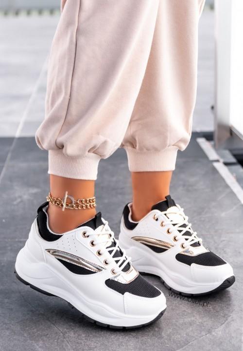 Sneakersy Ze Złotymi Wstawkami Czarne Nabi
