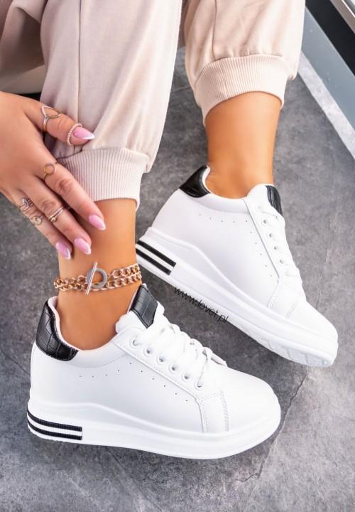 Sneakersy Wiązane Z Croco Wstawką Białe Shel