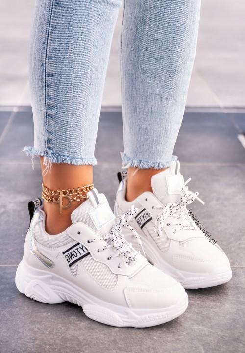 Trampki Sneakersy Biało-Srebrne Teresh