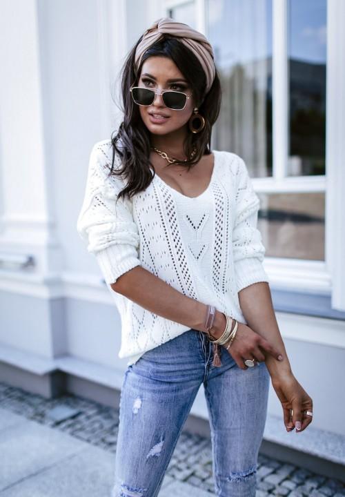 Sweter Ażurowy Biały Marisa