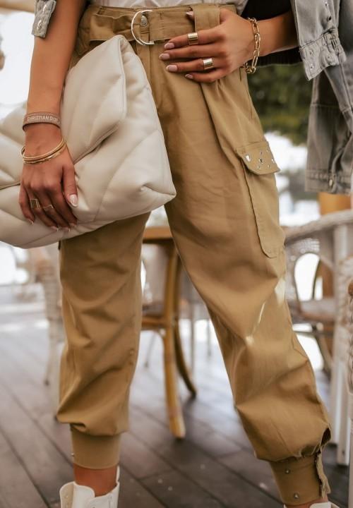 Spodnie Bojówki Joggery Beżowe Sonia