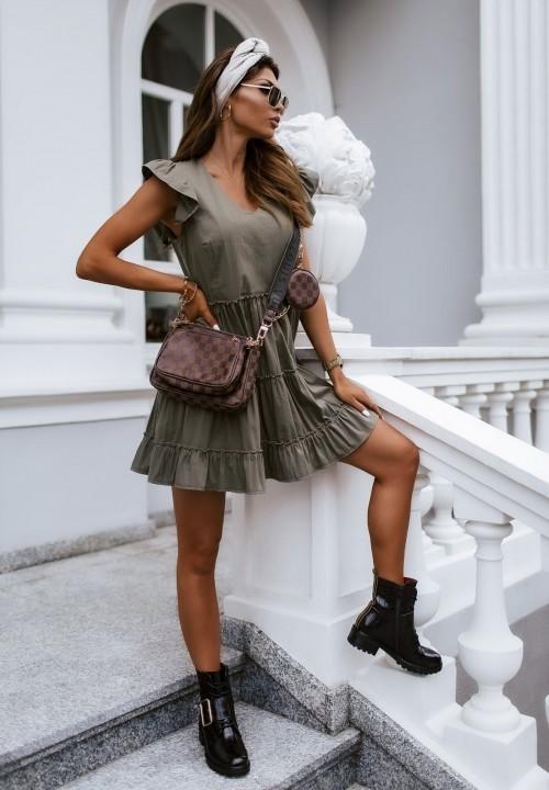 Sukienka z Falbankami Khaki Nicole