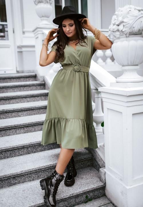 Sukienka z Falbanką Zielona Ana