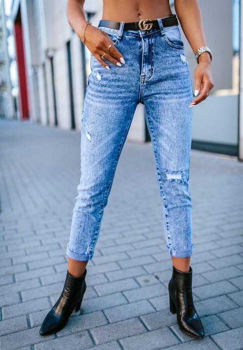 Spodnie Jeansy z Przetarciami Laurella