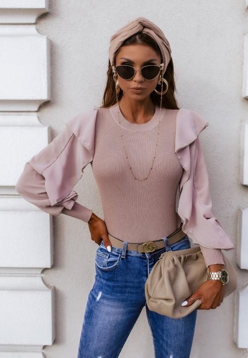 Sweter Tiulowe Rękawy Różowy Milena