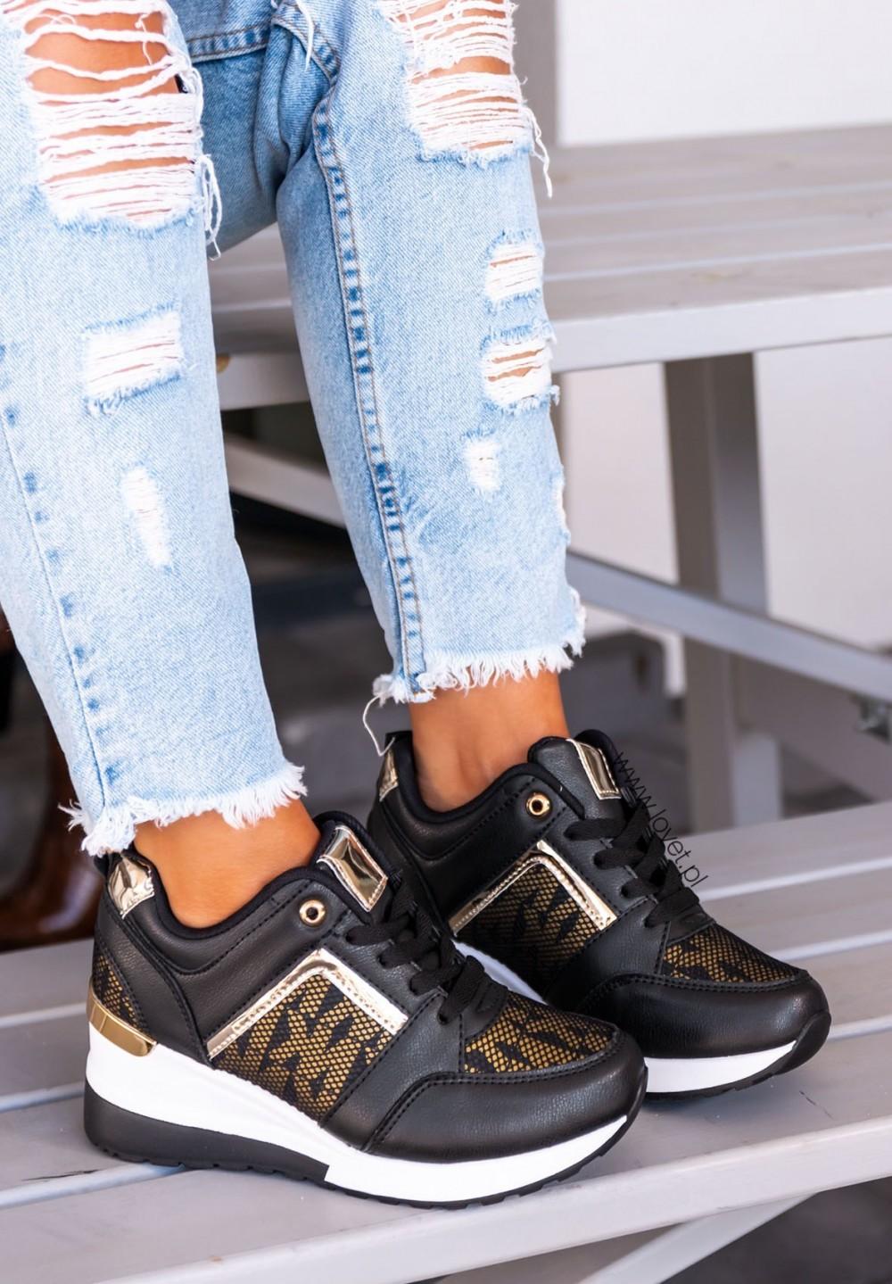 Trampki Sneakersy Czarno Złote Eris