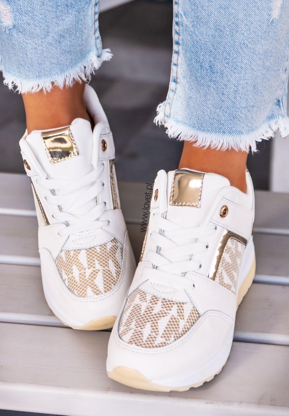 Trampki Sneakersy Biało Złote Eris