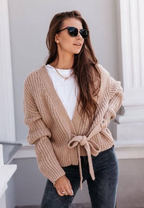 Sweter Wiązany Ciemny Beż Carla