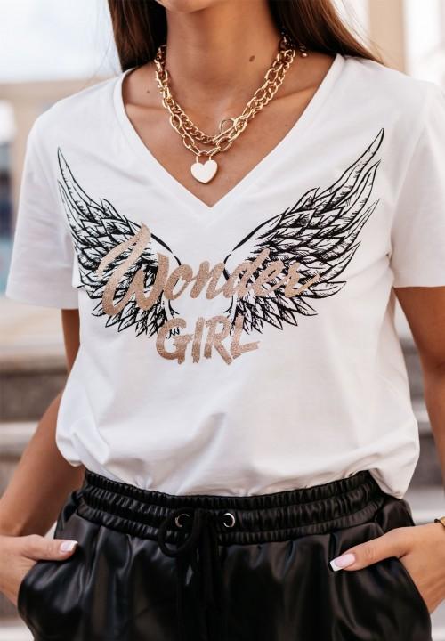 T-Shirt z Nadrukiem Kremowy Amia