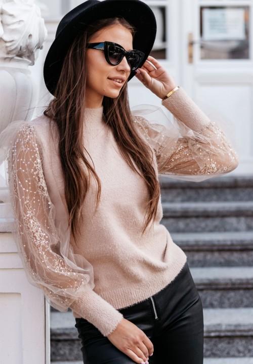 Sweter z Koronką Beżowy Salema