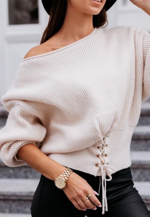 Sweter Prążkowany Ecru Liana