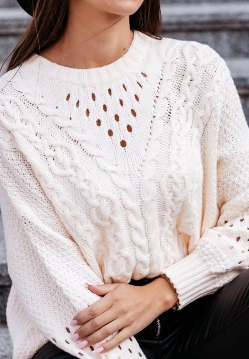 Sweterek Ażurkowy Kremowy Gloria